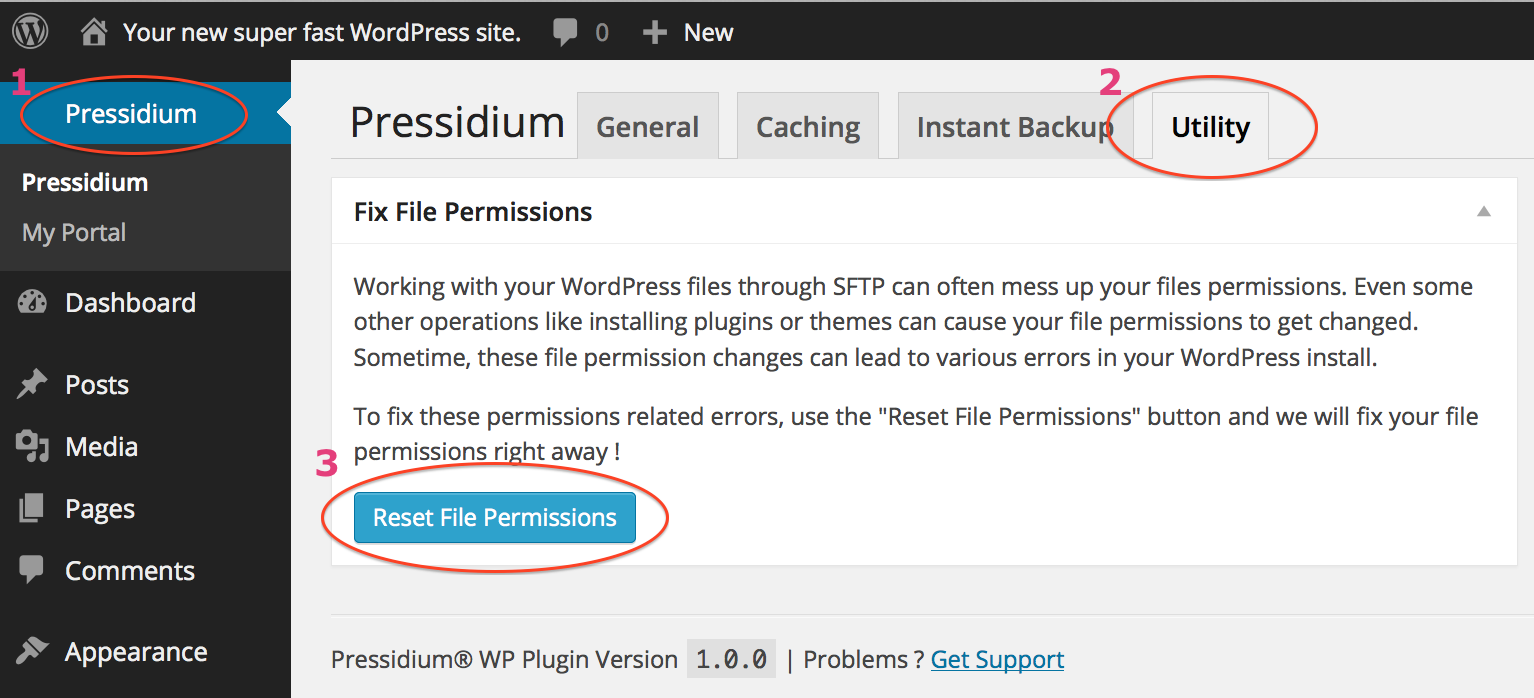 Reset File Permissions in Utility section