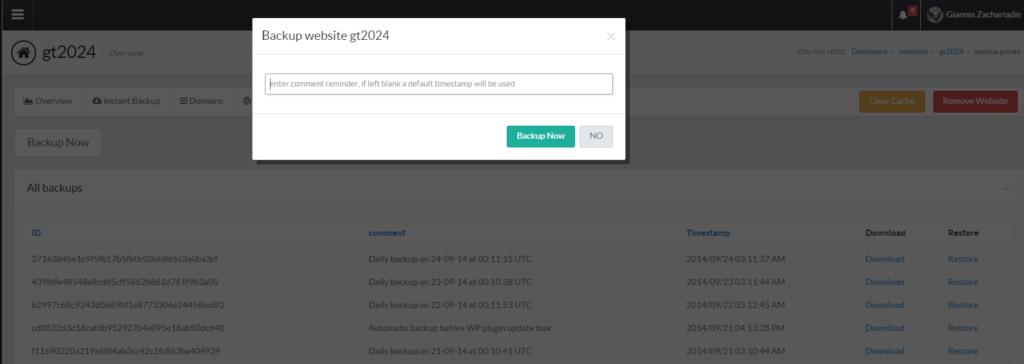 pressidium create instant backup form screenshot