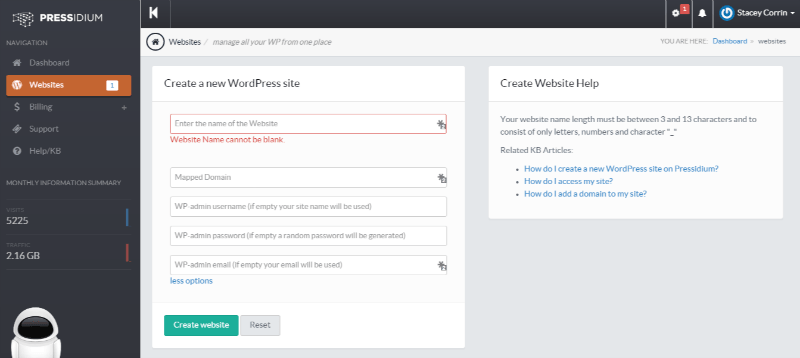Pressidium Customer Portal - Site