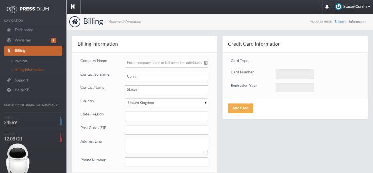 Pressidium Customer Portal Information Billing