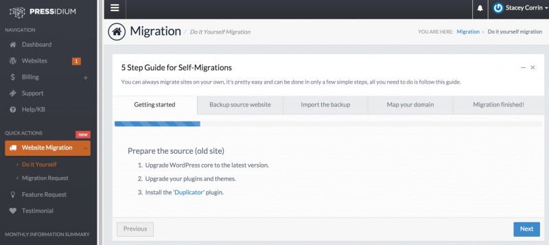 Pressidium Migration Wizard
