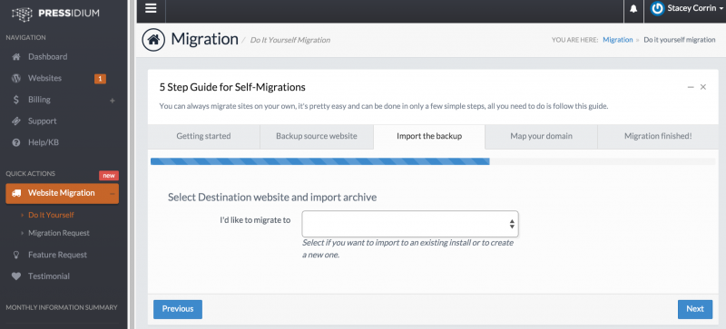 Pressidium Migration Wizard - Import Website