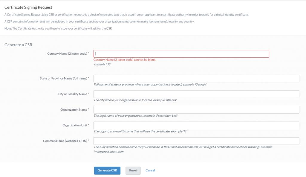 Pressidium SSL CSR Form