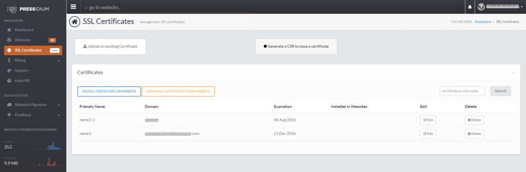 Pressidium SSL Management