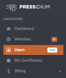 Multiple user access: Users menu item