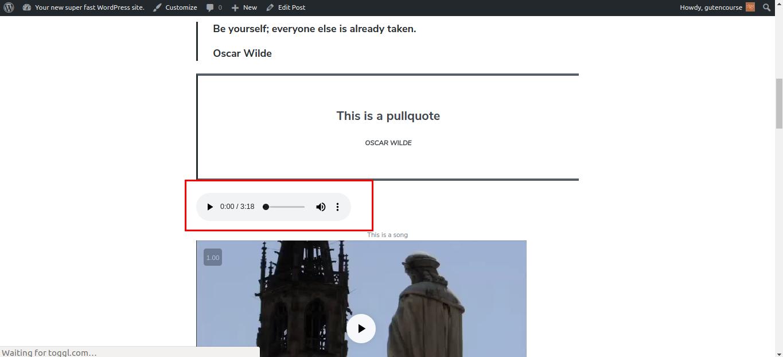 Default Gutenberg blocks: Audio (rendered)
