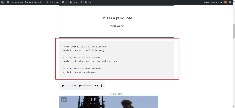 Default Gutenberg blocks: Verse (rendered)