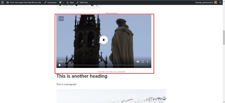 Default Gutenberg blocks: Video (rendered)