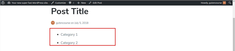 Default Gutenberg blocks: Categories (rendered)