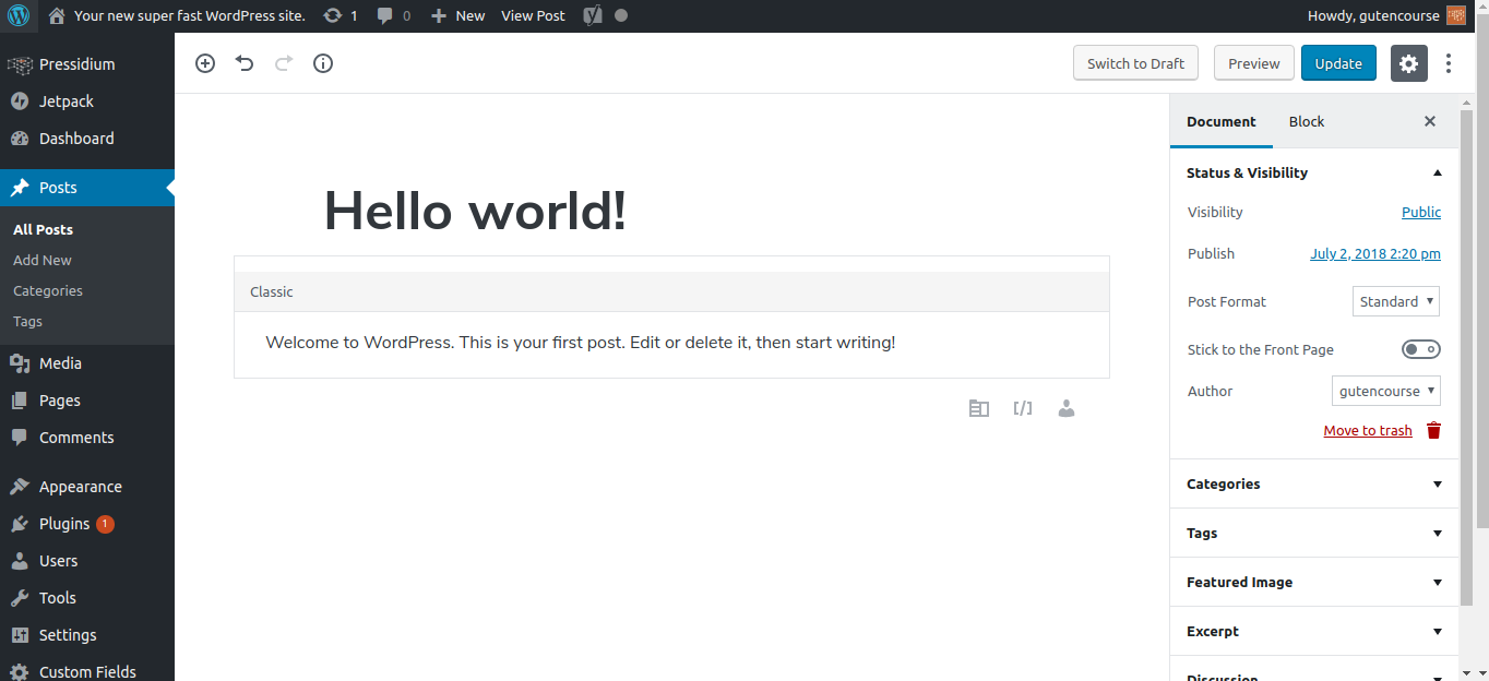 getting started with gutenberg
