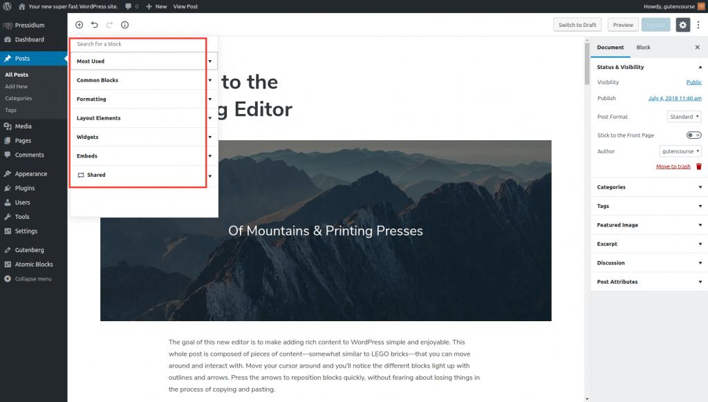 Default Gutenberg Blocks: search for a block