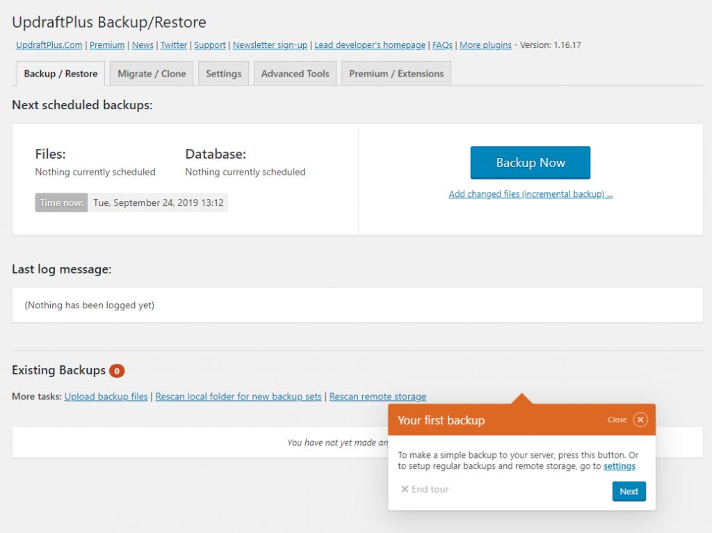 Backup WordPress now