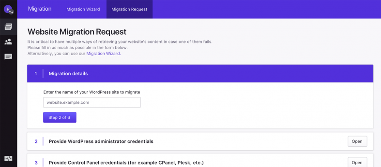 Pressidium WordPress Migration Request Wizard