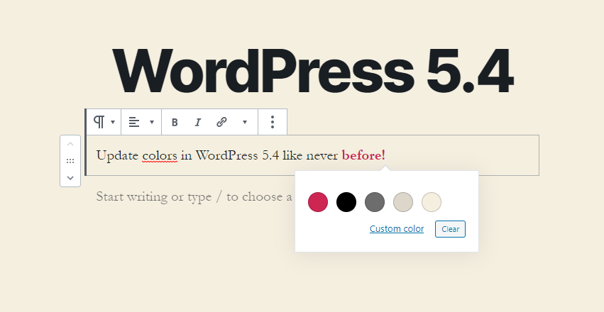 Text color in WordPress 5.4