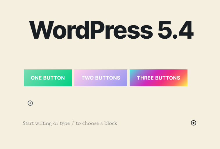 WordPress 5.4 Buttons