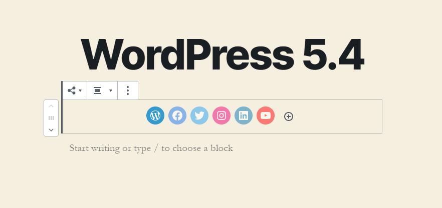 WordPress 5.4 Social Block