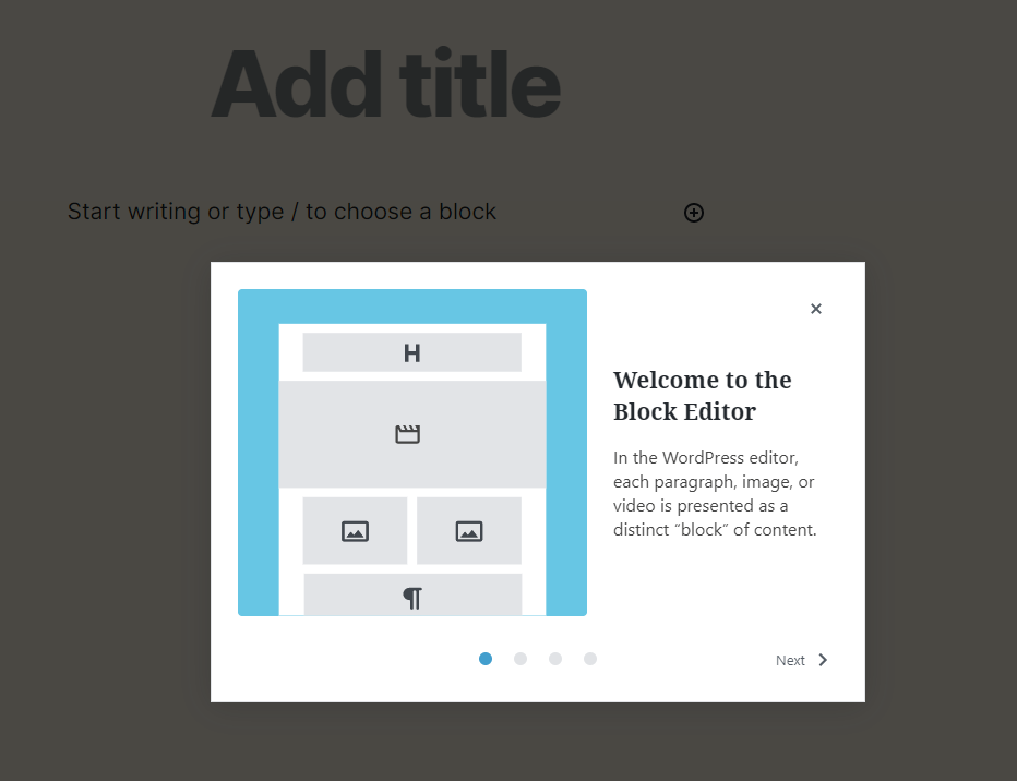 WordPress 5.4 Welcome Block