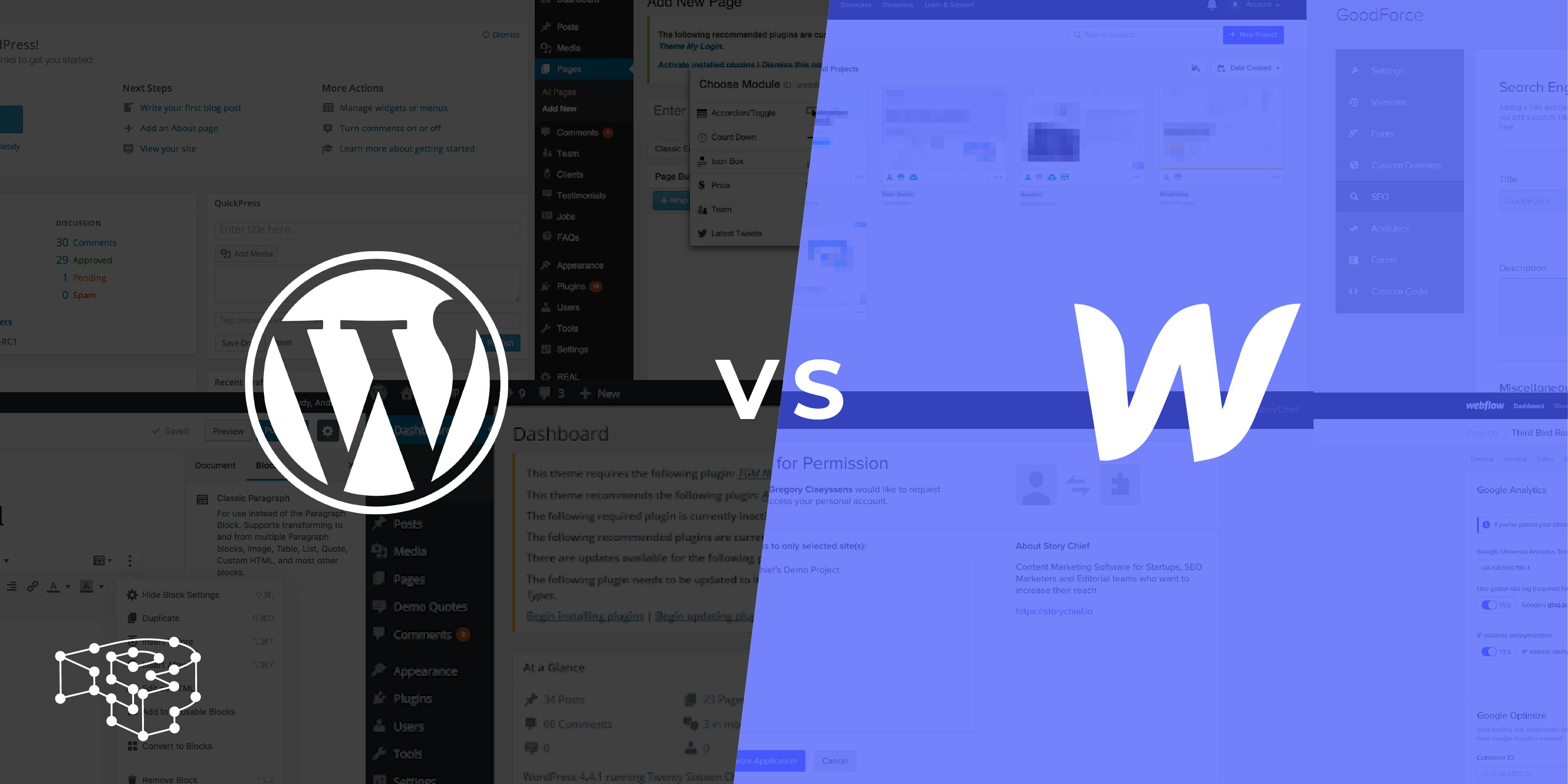 Image for WordPress vs Webflow