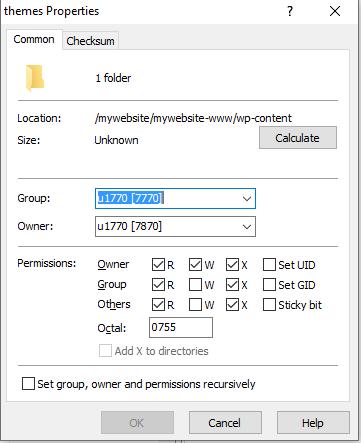 Edit file permissions via SFTP