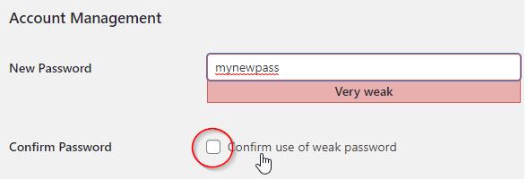 confirm weak password