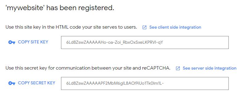Google reCaptcha site keys