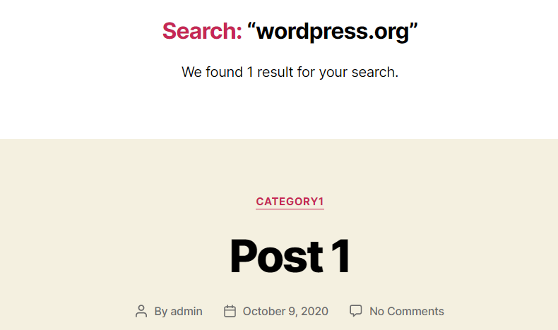 wordpress search on the front end