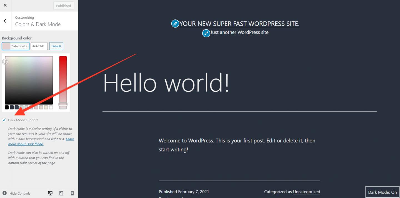 wordpress 5.6 dark mode