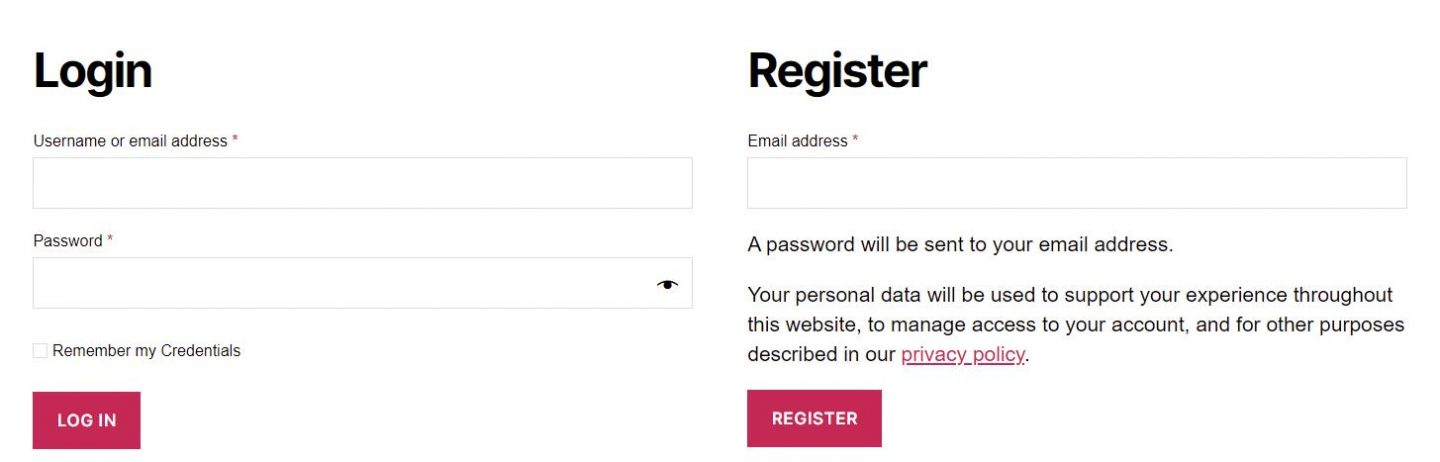 woocommerce registration and login pages